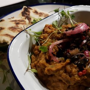 Crown Prince pumpkin dhal with red onion pickle and coconuthellip